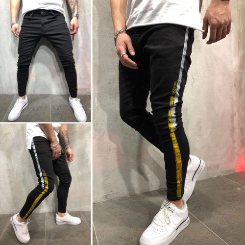 Slim Biker Jeans Men 2019 New Fashion Skinny Yellow Stripes Black Jeans Pencil Slim Streetwear Hip Hop Disstressed Jeans