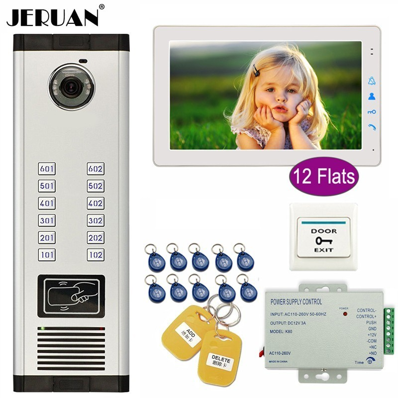 JERUAN Apartment 9 Inch Color TFT Video Door Phone Intercom Access 700TVL Camera Home Gate Entry Security Kit For 12 Families