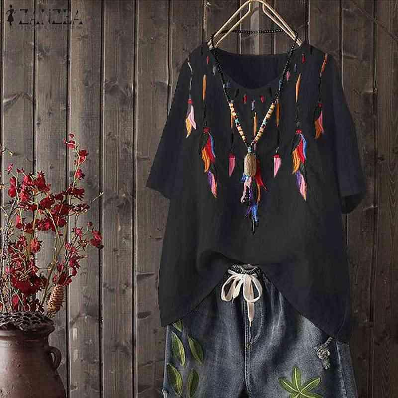 Вышитые Blusas ZANZEA 2019 летние вечерние Туники Топы женские повседневные с v-образным вырезом с коротким рукавом свободные рубашки винтажные блузки Femme