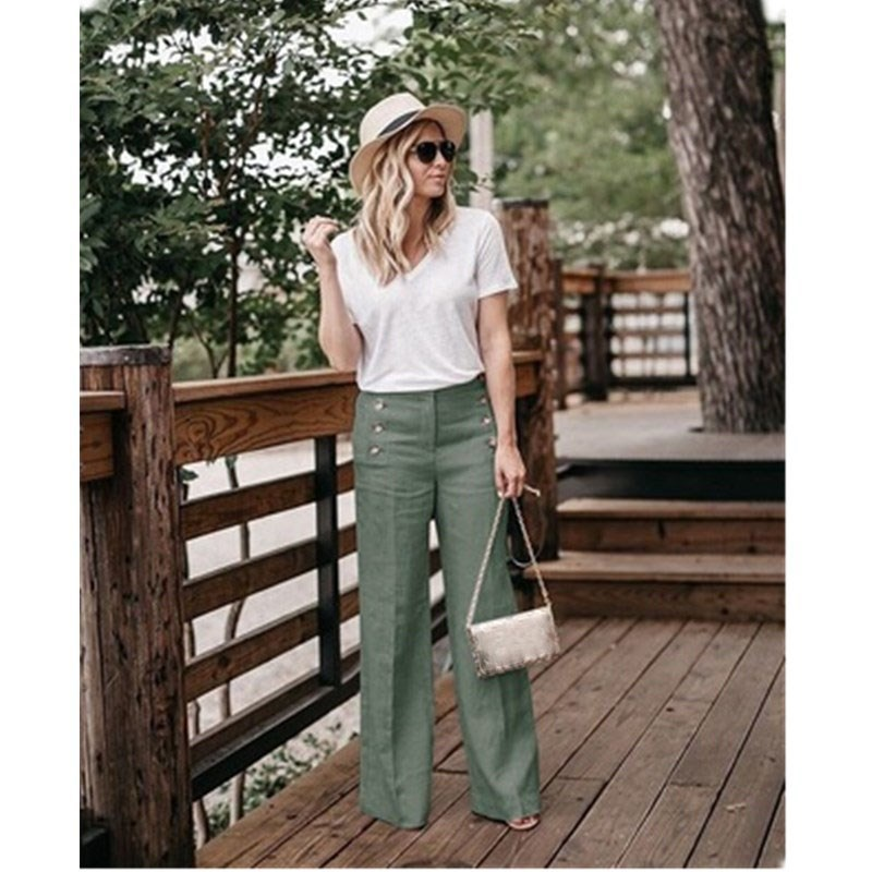 Summer Office Lady   Wide     Leg     Pants   Women Casual Buttons Zipper Trousers Women Vintage Cotton Linen   Pants   Casual Capris Bottom