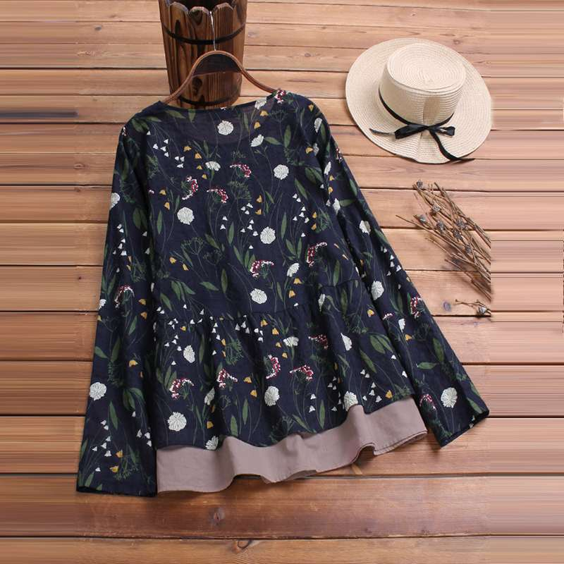 2019 Plus Size Spring Women Casual O Neck Long Sleeve Vintage Boho Floral Printed Patchwork Loose Party Blouse Shirt Vestido Top 6