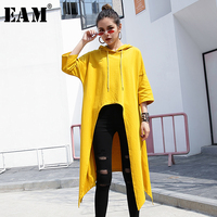 [EAM] 2019 New Autumn Winter Hooded Long Sleeve Drawstring Yellow Irregular Hem Loose Big Size T shirt Women Fashion Tide JQ469
