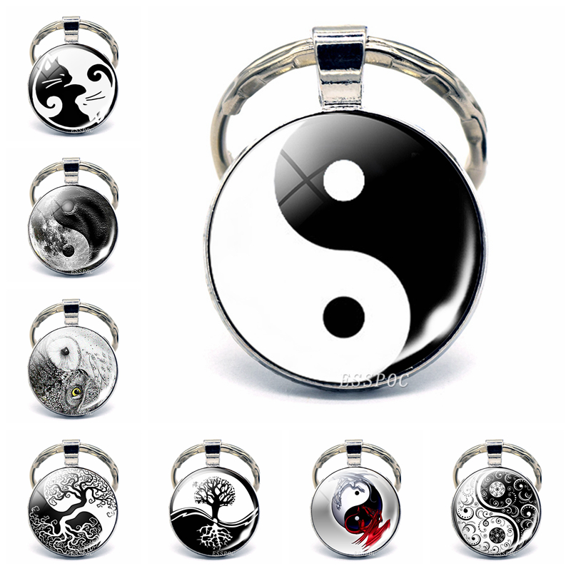 Yin Yang Taichi Symbols Key Chain Glass Cabochon Jewelry Yin Yang Life Tree Pendant Silver Keychain For Men Women Gifts