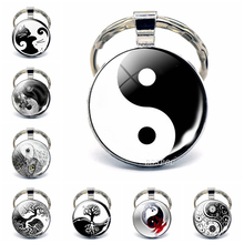Yin Yang Taichi Symbols Key Chain Glass Cabochon Jewelry Yin Yang Life Tree Pendant Silver Keychain for Men Women Gifts glowing yin yang necklace phoenix glass dome pendant tree of life silver plated chain necklace glow in the dark yin yang jewelry