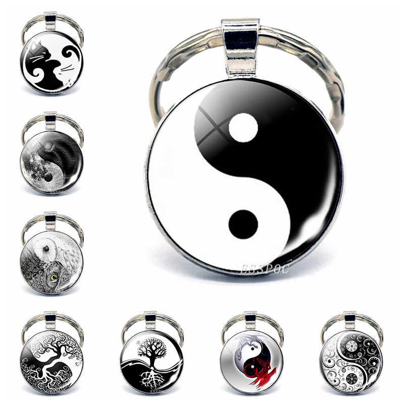 Yin yang taichi símbolos porta-chaves de vidro cabochão jóias yin yang vida árvore pingente de prata chaveiro para homens presentes