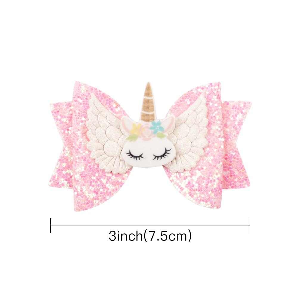 8 Pcs/lot 3'' Mini Unicorn Hair Bows for Girls Shiny Glitter Hair Clips Cute Princess Hairpins Party Kids Girls Hair Accessories