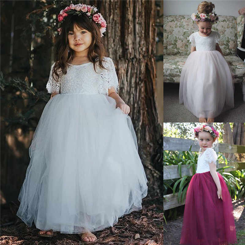 PUDCOCO Newest Toddler Kids Baby Girls Princess Party Pageant Lace Tulle Formal Tutu Dresses 2-7T