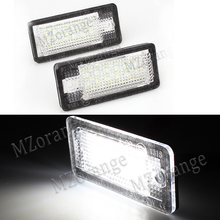MZorange 2Pcs LED Car License Plate Lights Number Plate Lamp Bulb Kit For Audi A3 S3 A4 S4 B6 B7 A6 C6 S6 A8 S8 RS4 RS6 Q7