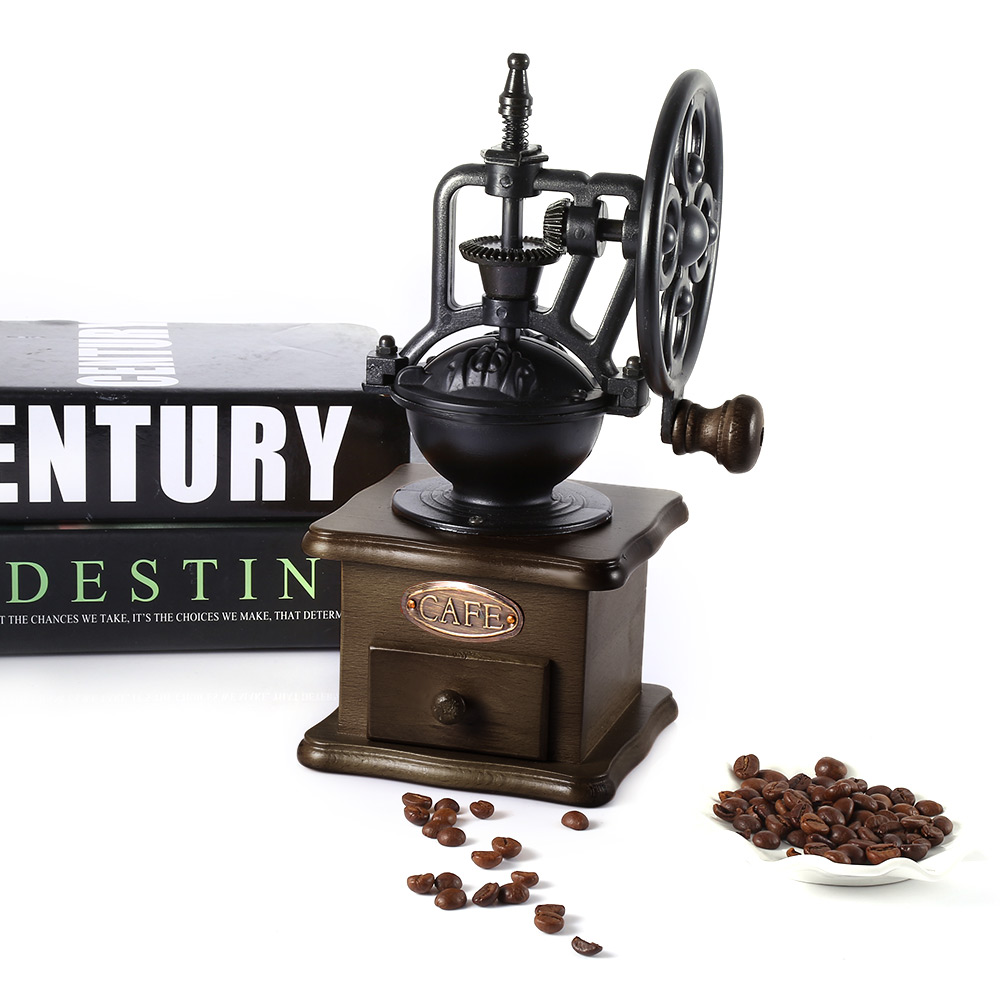 Manual Coffee Grinder Retro Style Wooden Coffee Bean Mill Grinding Ferris Wheel Design Hand Coffee Vintage Maker Kitchen Tools