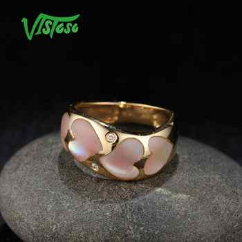VISTOSO Gold Rings For Women Genuine 14K 585 Yellow Gold Ring Sparkling Diamond Fancy Heart Pink Mother of Pearl Fine Jewelry