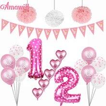 Набор для украшения на половину дня рождения Amawill, латексный фотоальбом, баннер для детей 6 месяцев, праздничные принадлежности для девочек 1...