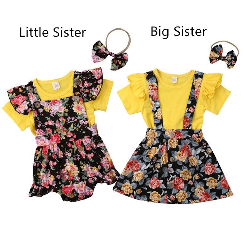 cute newborn kid baby girls sister matching outfits flower