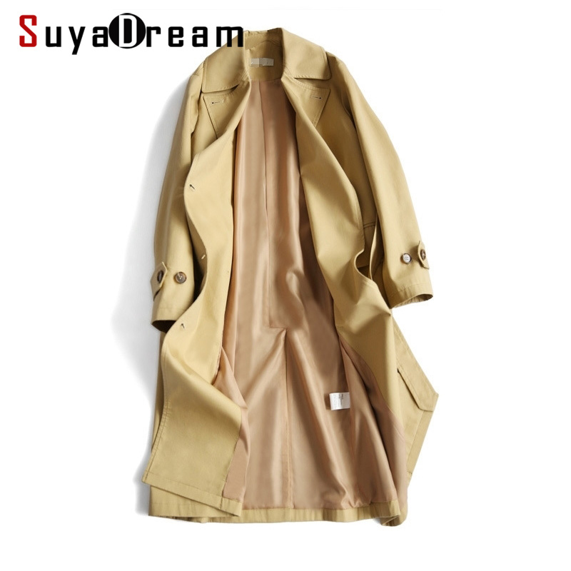 Women   Trench   100%Cotton Belted Double Breasted   Trench   coat 2019 Spring New Khaki Office Lady Outwear For Women