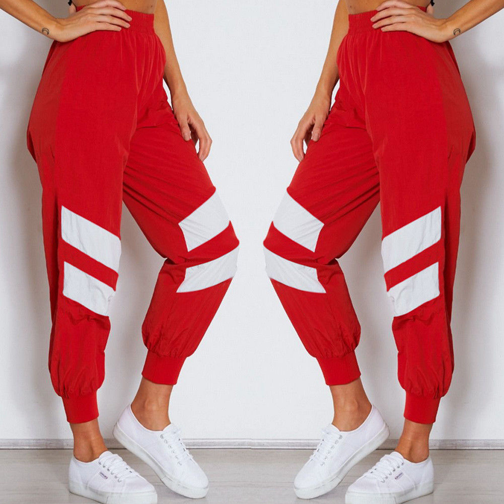 Fashion Women Elastic High Waist Red Black Sport Casual Cargo Pants Jogger Sweatpants Cool Girls All match Trendy Trousers in Pants amp Capris from Women 39 s Clothing
