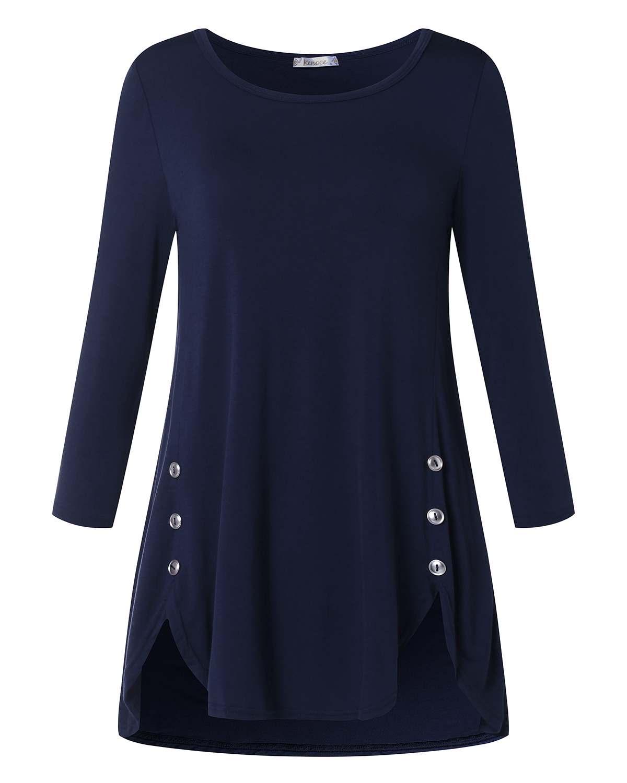 Women Pullover Irregular Blouse Shirts Casual Loose Solid Long Sleeve Button Top Shirts ZANZEA Cotton O-Neck Blusas Plus Size