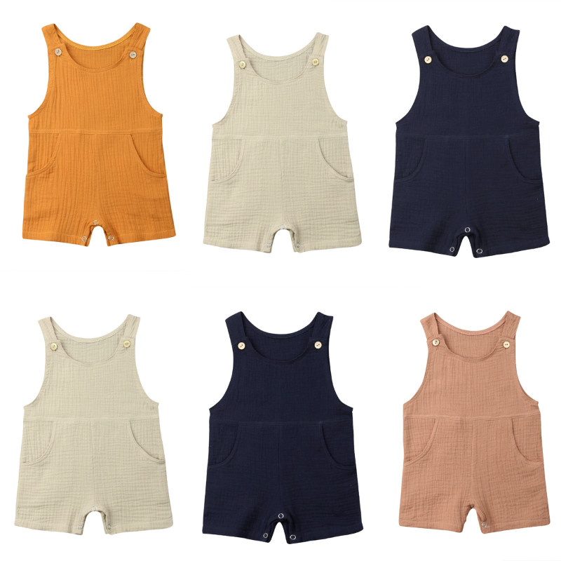 Pudcoco Toddler Baby Boy Girl Solid Color One-Pieces   Romper   Jumpsuit Summer Sleeveless Casual Unisex Baby Clothing Sunsuit