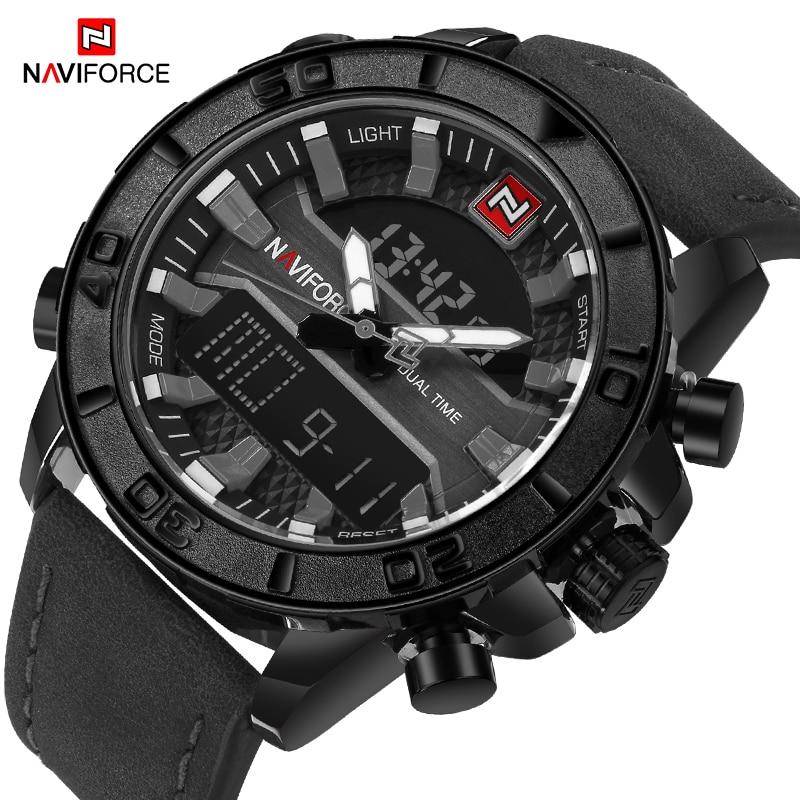 NAVIFORCE Top Brand Men's Sport Watches Fashion LED Digital Analog Quartz Wrist Watch Men Military Watch Clock Relogio Masculino men quartz led sport wrist watch analog