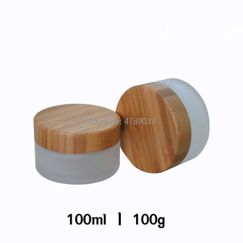 8pcs 100g Matted Empty Glass Cream Jar Pot with Bamboo Cover Lid 100ml Dull Polish Glass Cosmetic Package Refillable Container