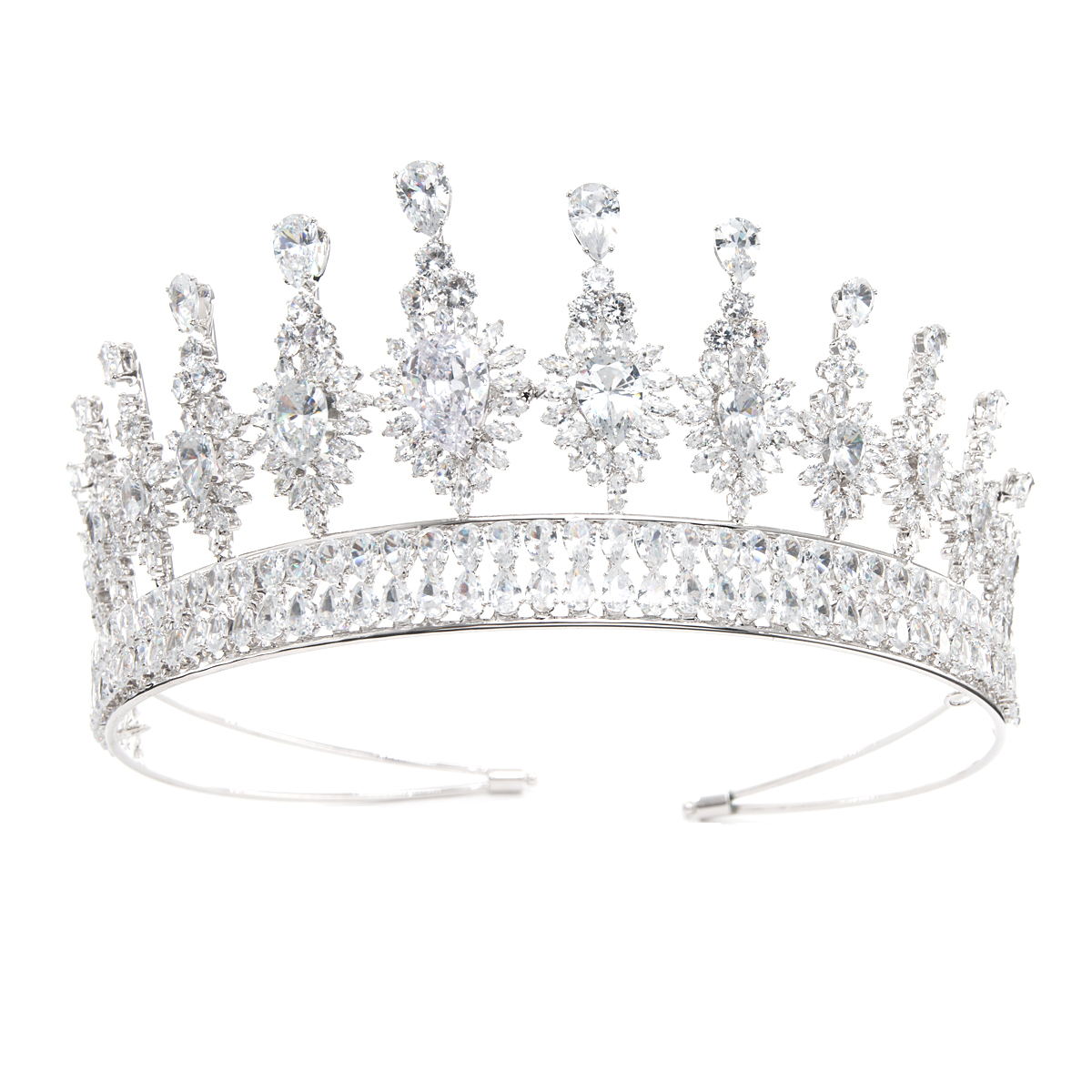 2018 New Wedding Brides Tiara Crown Hair Jewelry Accessories Micro Pave 5A CZ Rhinestone Crystal Tiara for Party Jewelry HG312502018 New Wedding Brides Tiara Crown Hair Jewelry Accessories Micro Pave 5A CZ Rhinestone Crystal Tiara for Party Jewelry HG31250