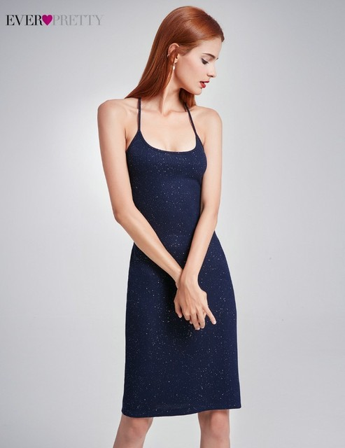 Coktail Dresses With Sequins Ever Pretty AS05850NB Straight Halter Sexy Backless Women Summer Beach Party Dresses Robes Cocktail Cocktail Dresses