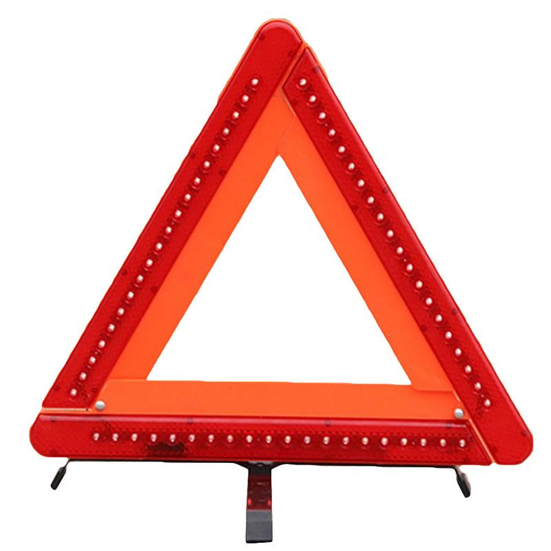 Emergency Hazard Sign LED Light Cars Tripoad Auto Reflective Stop Warning Triangle Sign Board Parking Safety Sign Reflective Strips     - title=