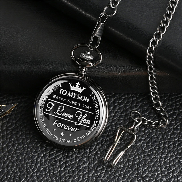 """To MY SON' Engraving Word Black Pocket Watch Men Roman Number Watches Unique Quartz Clock Chain Boy Birthday Christmas Gifts 5"