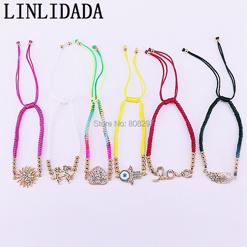 Mix Style 10Pcs Hot Sale CZ Micro Pave Connector With Macrame Cord Thread Rope Adjustable Bracelet