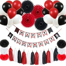 Pirate Theme Happy Birthday Party Decorations Kids With Balloons Hanging Banner For 1st First Boy Decor