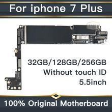 Заводская разблокировка оригинальная материнская плата для Apple iPhone 7 Plus 5,5 дюймов без сенсорного ID материнская плата IOS установленная логическая плата 32 ГБ/128 ГБ/256 ГБ