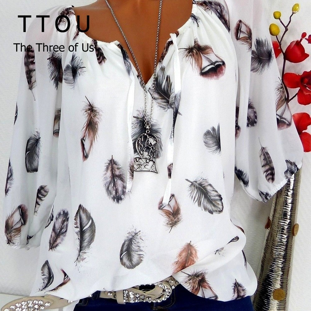 TTOU Fashion Women's   Blouses   Summer Tops New Leisure   Blouse   White Loose Feather Print V Neck Half Sleeve   Shirts   5XL Plus Size