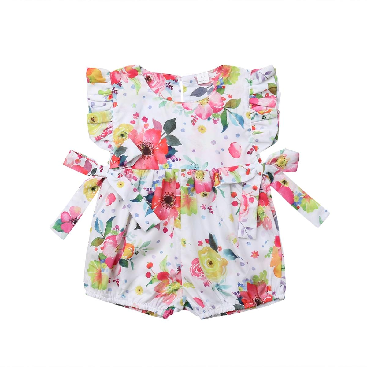 2019 Neue Nette Blume Infant Baby Mädchen Kleidung Rüschen Neugeborenen Mädchen Strampler Sommer Overall Overall Baby Mädchen Kostüm Modernes Design