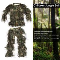 Children Jungle Boy Suit Hunting Ghillie Suit Camouflage Hunting Clothe Kids Girl Woodland Tactical Uniform Army Combat Clothing