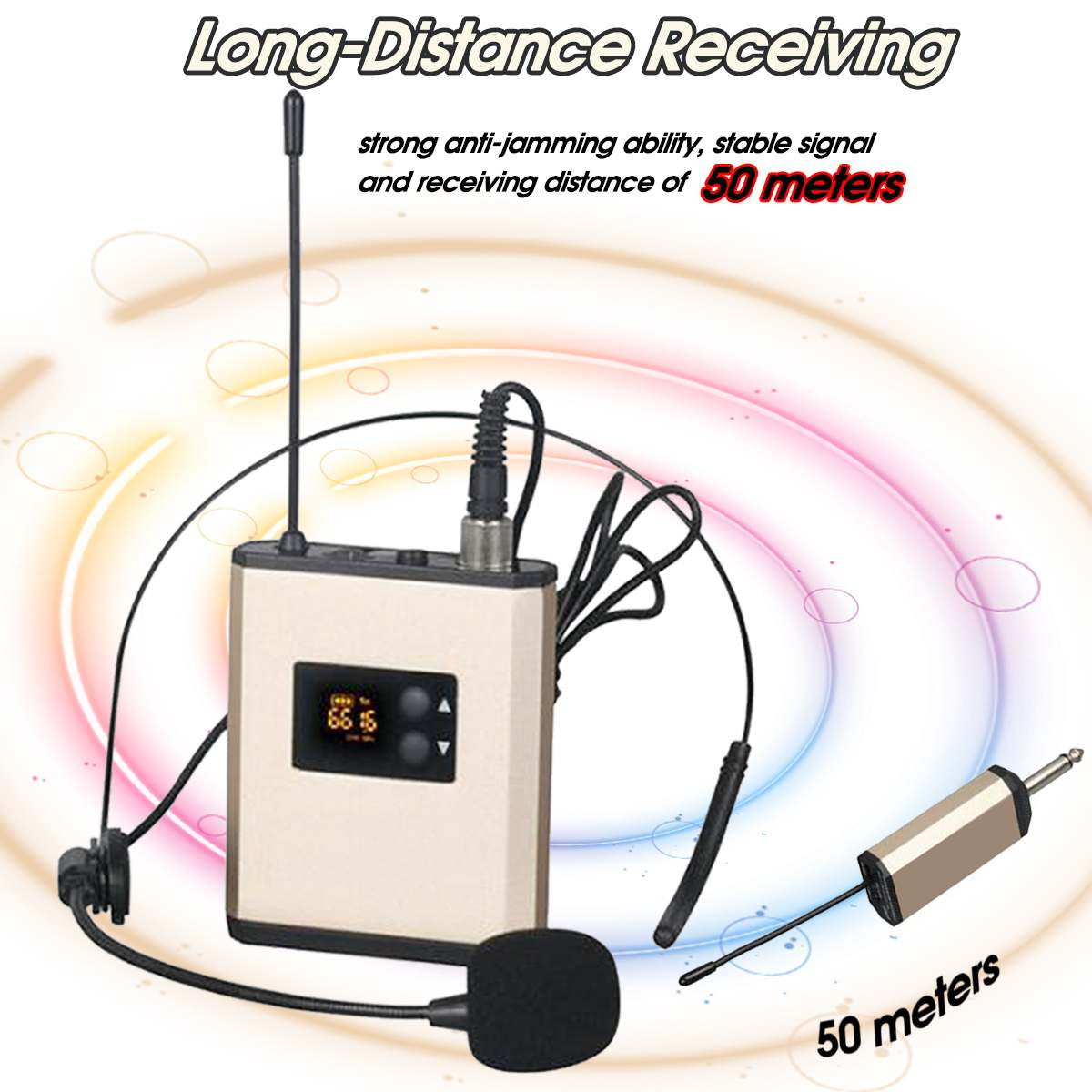 Professional UHF Wireless Microphone Headset Mic Wireless Microphone System For Loudspeaker Teacher Tour Guide Voice Amplifier