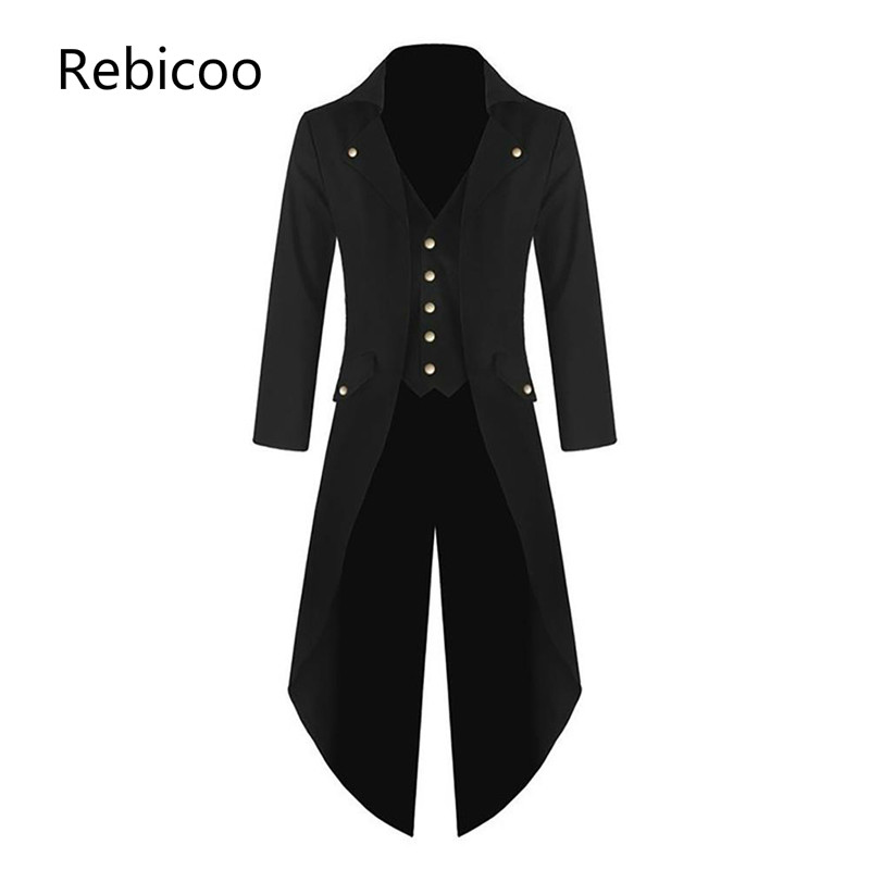 Men's Coat Jacket Solid Punk Retro Tuxedo Male Tailcoat Suits Autumn Winter Windbreaker Long Blazer Plus Size 4XL