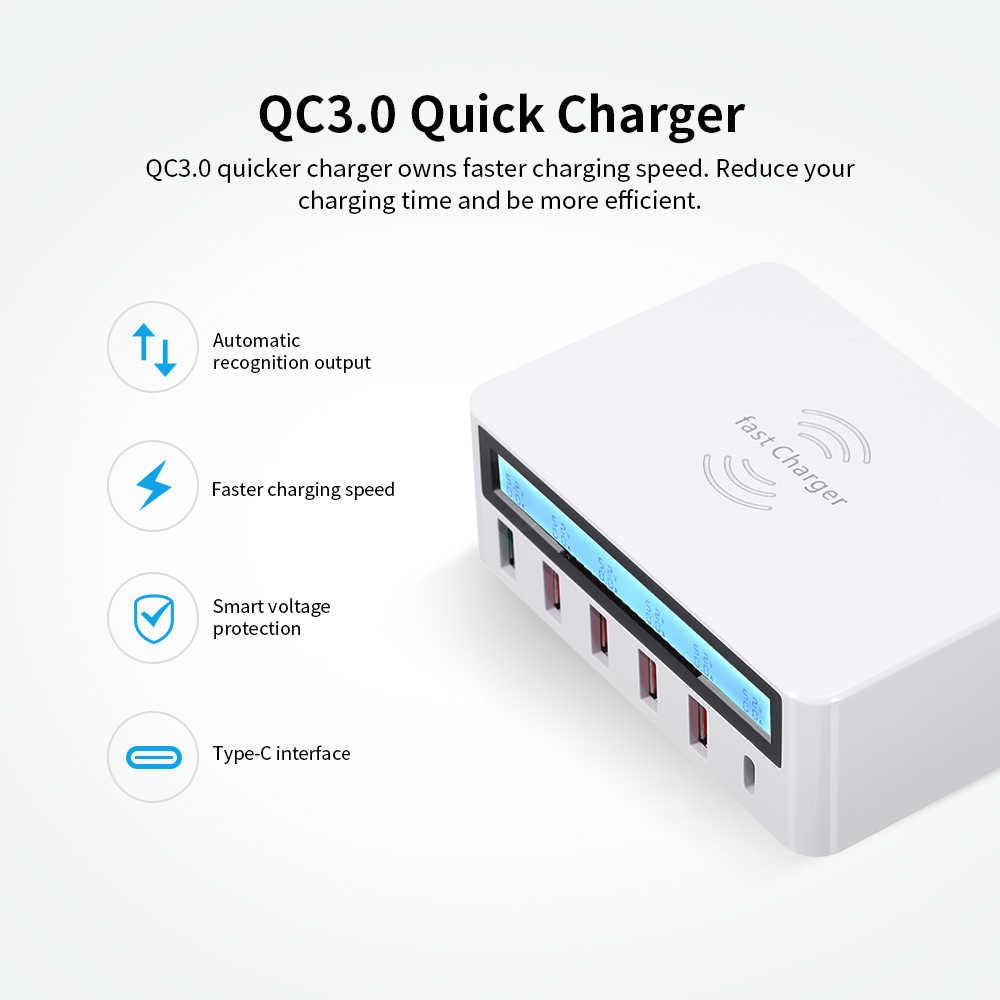 สมาร์ทชาร์จสถานีชาร์จด้วย Quick Charge 3.0 6 พอร์ต USB แท่นชาร์จไร้สายเครื่องชาร์จ Universal Charging Station