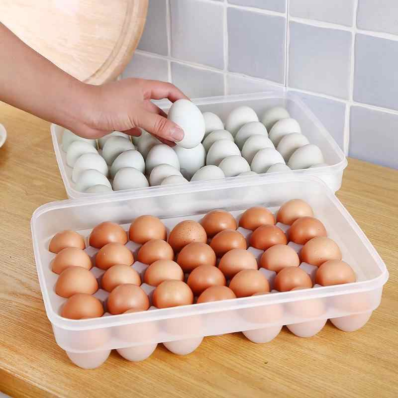 Egg Storage Box holder 34 Grids Large Capacity Hard Egg Case Organizer Refrigerator Holder Box Container Egg Racks And Shelf