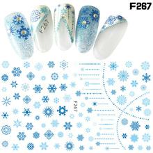 2 Sheets Blue Snowflake Nail Stickers Self-adhesive Nail Art Decals Ultrathin Christmas Diy Charms 3d Manicure Decorations Salon 22tips sheet toe nail stickers waterproof full cover foot decals toe nail wraps adhesive stickers diy salon manicure