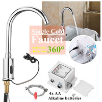 360Degree Swivel Faucet Automatic Sensor Water Tap Single Cold Basin Sink Mount Bathroom Fully automatic Convent Chrome polished