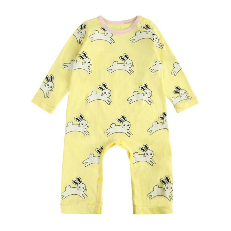 Зимние детские комбинезоны; Пижама для новорожденных; комбинезоны с рисунком кроликов; хлопковые пижамы с длинными рукавами и круглым выре