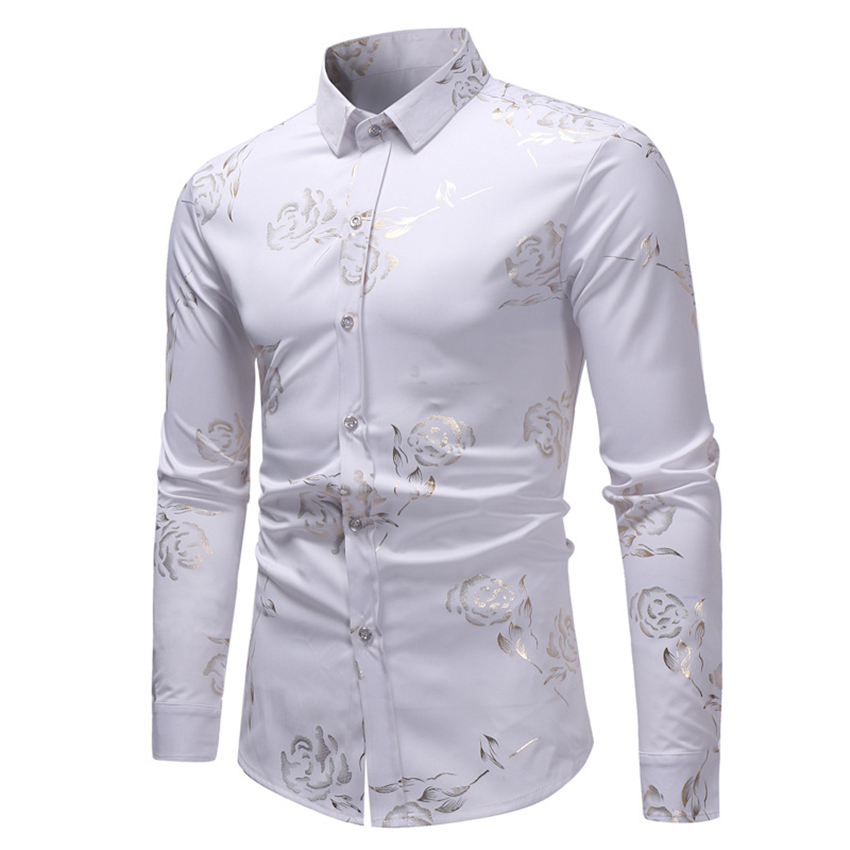 Men African Floral Shirts 2019 Spring Fashion Dashiki Full Sleeve Slim T-shirt Africa Style Riche Bazin Clothes for Man