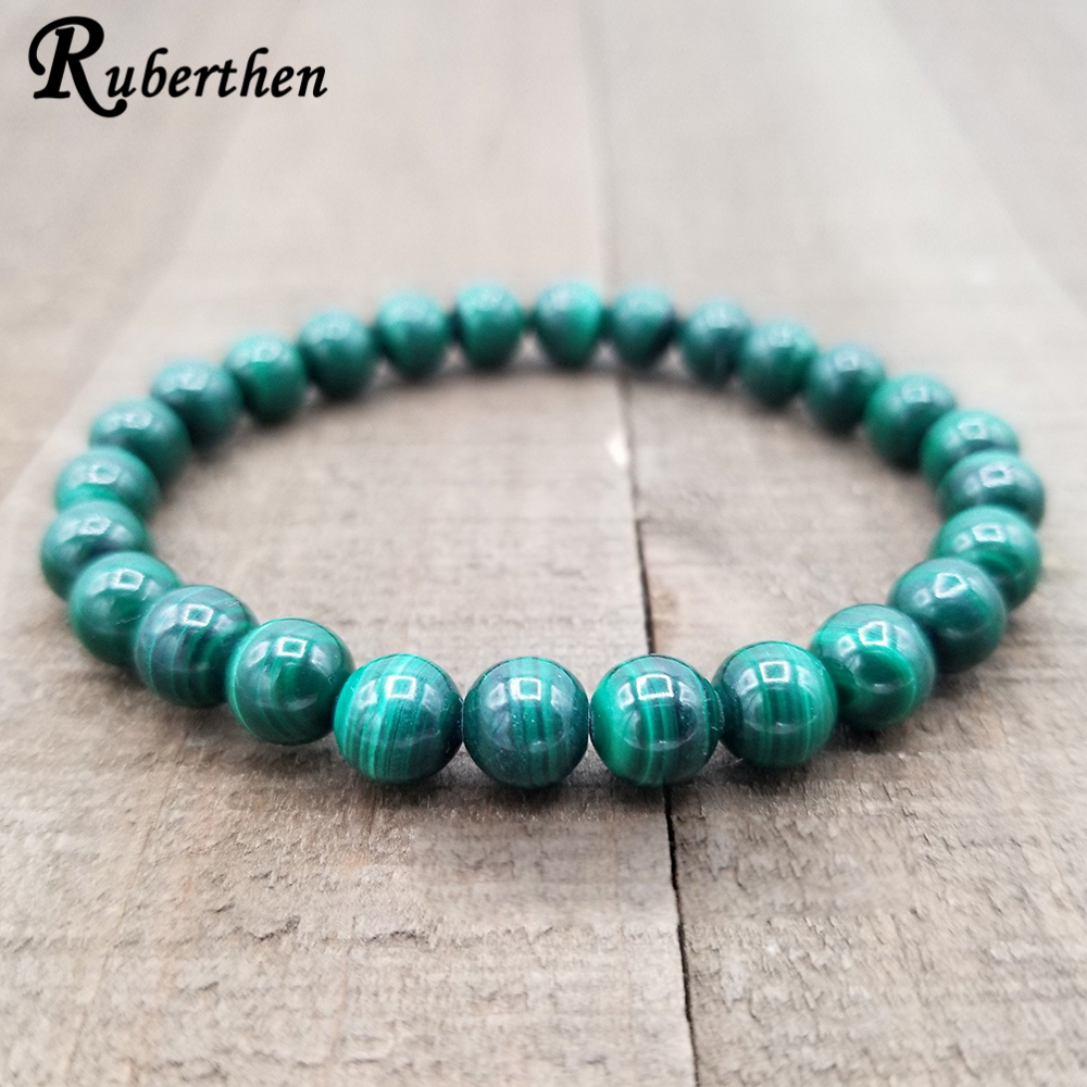 Ruberthen AAA Grand 6/8 mm Malachite Stacking Bracelet Healing Yoga Mala Beads Bracelet Love Peace Manifestation Jewelry