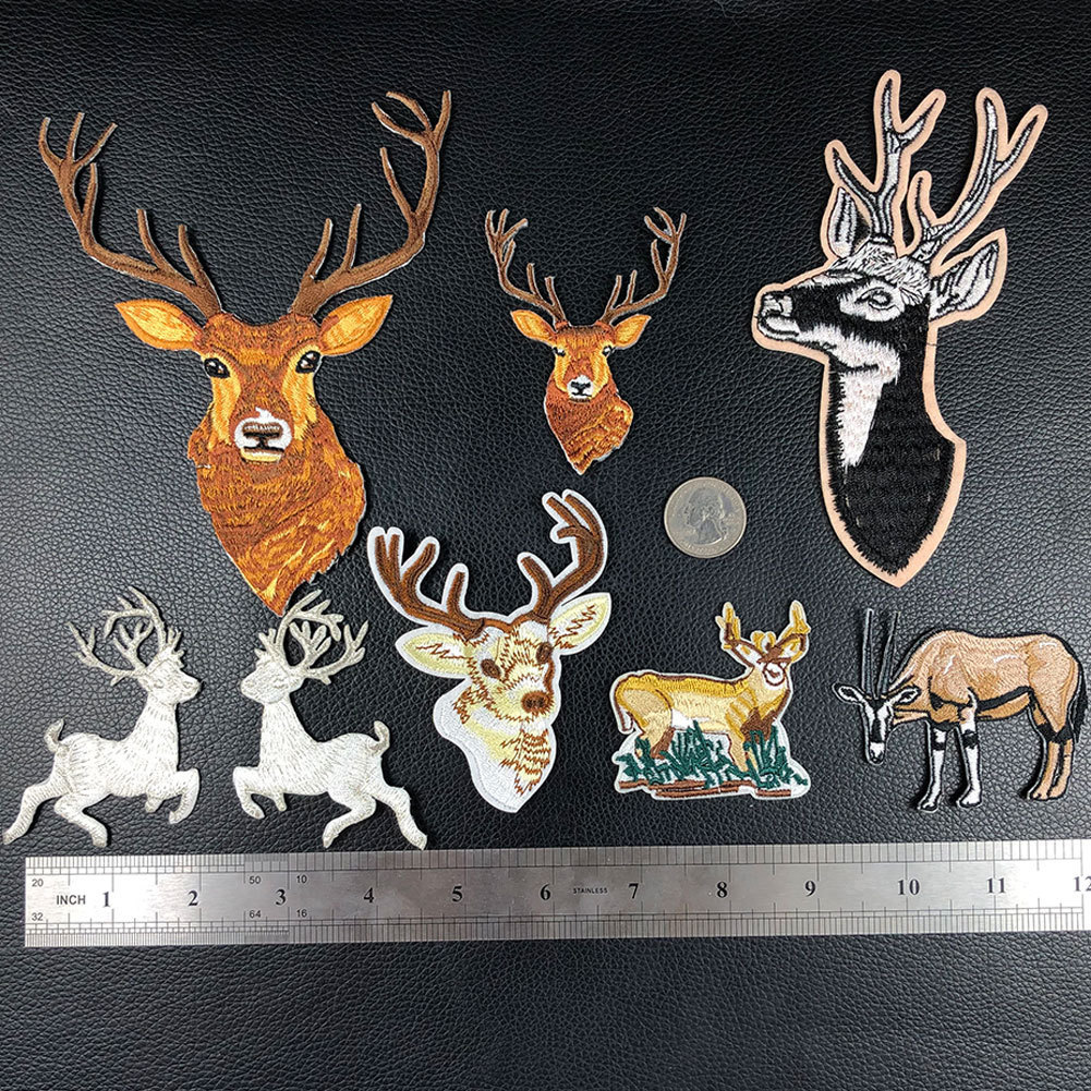 PGY Cartoon Christmas <font><b>Deer</b></font> Embroidery Appliques Iron On <font><b>Patches</b></font> for Clothing Elk Head Stickers Cute Animal Badges Parches image