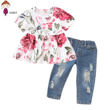 Baby Girls Clothes Set 2PCs Floral Rose Print Tops+Denim Pants Outfits Clothes Set Infantis