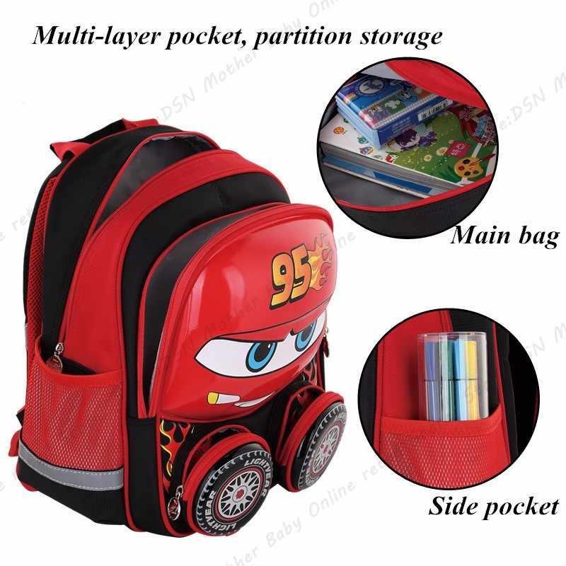 Disney 3D молния McQueen Водонепроницаемый Школьный Рюкзак Для учебников дети новый модернизированный светоотражающий большой емкости красная сумка креативный подарок