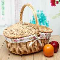 Wicker Willow Picnic Basket Hamper Shopping Vintage Basket with Lid and Handle Up to 10KG for Camping for Shopping & Pets