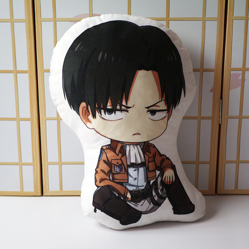Attack On Titan Pillow Toy Anime Levi Ackerman Short Plush Stuffed Doll Double Sided Pillowcase 48cm For Gift