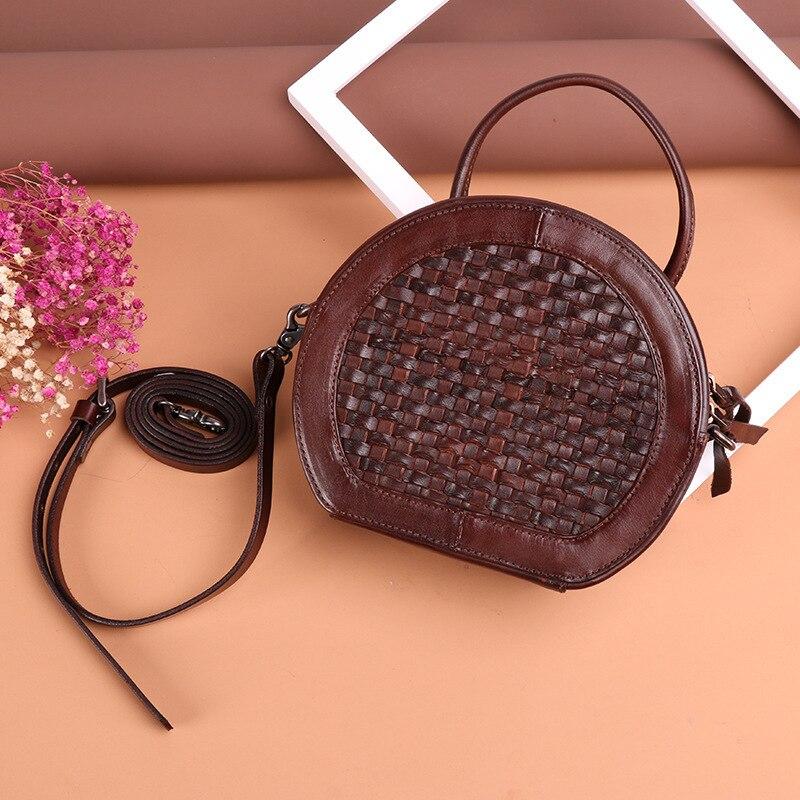 Nouveauté femmes romantique en cuir véritable à la main tissé totes femme peau de vache marron café noir grand sac de vacances casual doux sac à main - 3