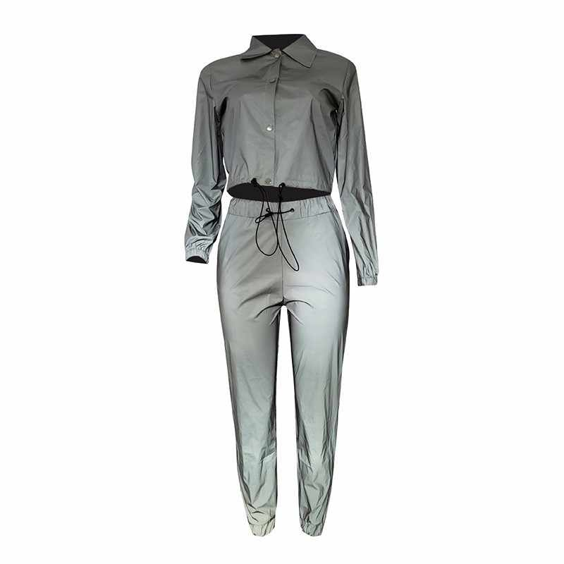 81eb0f1ca883 ... Reflective Light Sexy Two Piece Set Long Sleeve Top And Ankle Length Pants  2 Piece Set