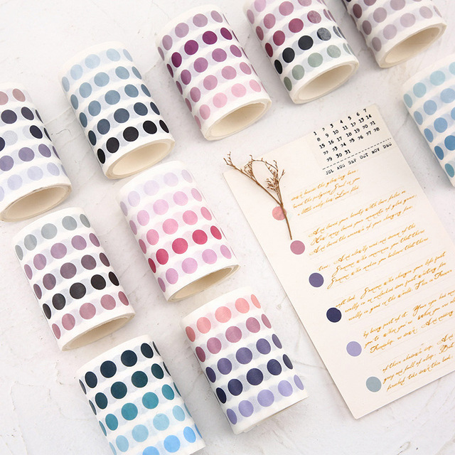 School Office Supply Colorful Dots Masking Tapes List Journal Student Notebook Stickers Kids DIY Decorative Diary Scrapbooking