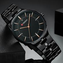 Luxury Brand Mens Watches Fashion Black Blue Stainless Steel Watch 2019 CURREN Waterproof Quartz Analog Wrist Watch Reloj Hombre